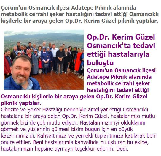 Osmancık haber kerim güzel osmancıkda hastalarıyla